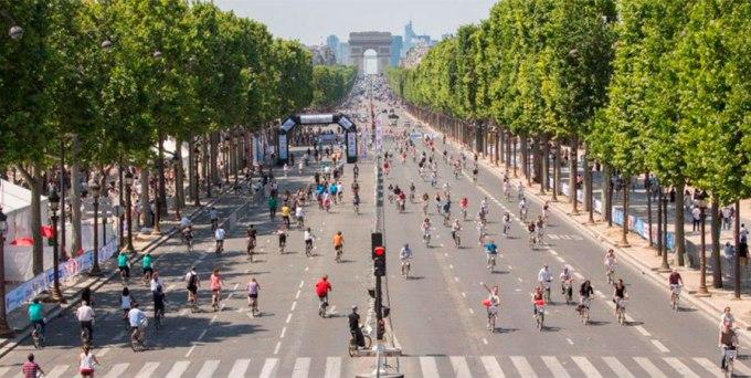 Día Mundial Sin Automóvil en París, Francia, 22 de setiembre de 2015.